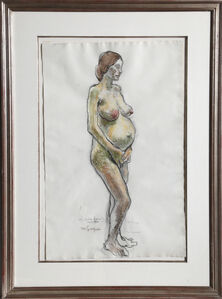 Moses Soyer, 'Standing Pregnant Nude', 1965