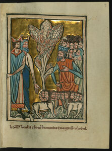 William de Brailes, 'The Eighth Plague: Locusts (Exodus 10:12-15)', ca. 1250