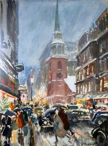 John Whorf, 'Christmas Rush, Washington Street (recto); Seascape (verso)', N/A