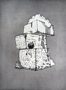 Ernesto Caivano, 'Little Tower of Remembered Power with Codex Graffiti (Cognitive Tools)', 2015