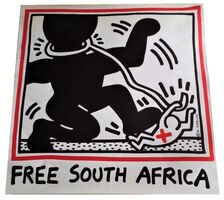 "Keith Haring, '""Free South Africa"", 1985, unsigned, offset lithograph on glazed poster paper, edition of 20,000.  ', 1985"