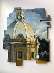 Cecilia Villanueva, 'Last Minute of High UV, domes, architecture, Italy, renaissance, light, blue, yellow, ochers, green, greys cutouts, original, post moden art', 2020