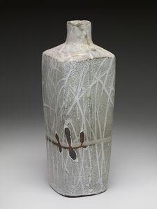 Randy Johnston, 'Square vase, nuka glaze over iron slip with brush decoration'