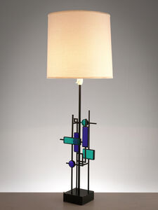 Svend Aage Holm Sørensen, 'Brutalist Table Lamp with Iron Frame and Glass', 1960s