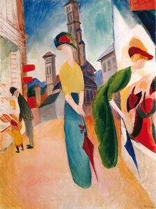 August Macke, 'TWO WOMEN IN FRONT OF A HAT SHOP', 1913