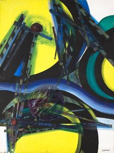 Armand Szainer, 'Abstract mixed Media Collage Vibrant Painting', 20th Century