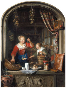 Gerrit Dou, 'The Grocer's Shop: a Woman Selling Grapes', 1672