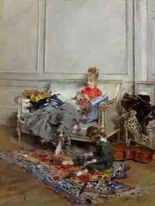 Giovanni Boldini, 'Young Woman Crocheting', 1875