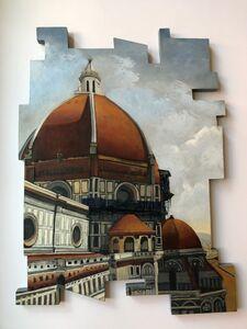Cecilia Villanueva, 'Blue Scaffolding, Italian domes, Brunelleschi, red, blue gray,yellow ocher,post modern art,texture, architecture', 2020