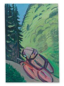 Maria Lassnig, 'Motorrad im Wald / Motorradfahrer (Motorcycle in the Forest / Motorcyclist)', 1987
