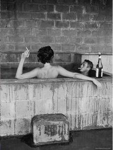 John Dominis, 'Steve McQueen and his wife, Neile Adams, in sulphur Bath, Big Sur, CA 1963', 1963