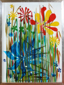 """Charles Blackman, '3 Paintings-""""Flowers and Grasses"""" ,""""Blue and Red Flowers and Grasses"""" & """"Blue, Red, and Yellow Flowers and Grasses""""', 1960-1980"""