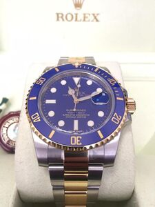 Rolex, 'Rolex basel one Submariner Date blue dial gold steel 116613LB 40mm', 2009