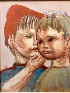 Josef Presser, 'Polish Expressionist Profile Portrait Drawing TWO CHILDREN', Mid-20th Century