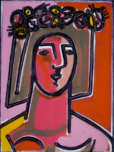 America Martin, 'Woman with Flower and Wreath in Hair', 2020
