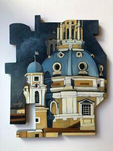 Cecilia Villanueva, 'Night Light, architecture, domes, blue, yellow ocher, grey, blue shadows, post modern art, cutouts, texture', 2020