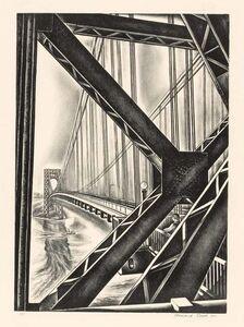 "Howard Cook, 'George Washington Bridge With ""B"" (D. 156)', 1931"