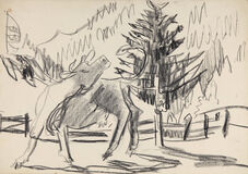 Kuh vor Gebirgslandschaft und Tanne (Cow in front of Mountain Landscape and Fir Tree)