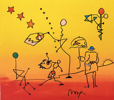 Peter Max, 'UMBRELLA MAN (SUNSET)', ca. 1990