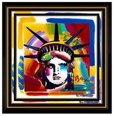 PETER MAX Original Painting LIBERTY HEAD Signed Pop Art Oil USA Statue of Framed