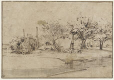 Landscape with Cottage, Trees, and Stream