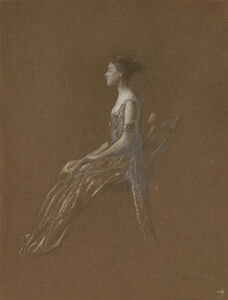 Thomas Wilmer Dewing, 'Seated Lady in a Yellow Dress'