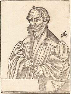 Lucas Cranach the Younger, 'Philip Melanchton, Half-Length to the Left, Standing Behind a Breastwork'