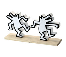 Keith Haring, ''Dancing Dogs' (white) Hard Wood Bookends', 2019