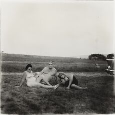 A Family and Their Car in a Nudist Camp in Pennsylvania,
