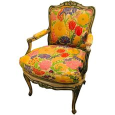 Louis XV Style Polychrome Decorated Fauteuil, Maison Jansen Attributed