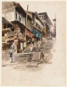 Robert Frederick Blum, 'A Street in Ikao, Japan, II', 1890