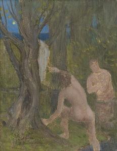 """Pierre Puvis de Chavannes, '""""Baigneurs dans un sous-bois (Bathers in Undergrowth)""""', ca. 1890-1891"""