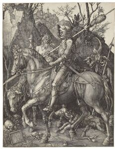 Albrecht Dürer, 'Knight, Death and the Devil (B. 98; M., Holl. 74; S.M.S. 69)', 1513