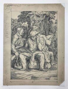 Charles Wheeler Locke, 'Men Reading in a Park', circa 1940