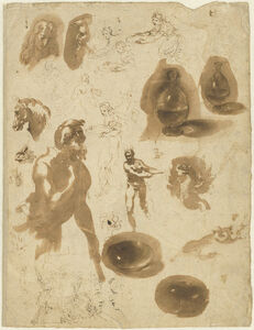 Ambrogio Figino, 'Studies of Glass Jars and Figures (recto)', 1570s/1580s