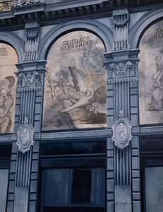 Cecilia Villanueva, 'Museo del Estanquillo, blue architecture, window, graphite and pencil drawing, freedom of speech Mexico City, old building', 2019