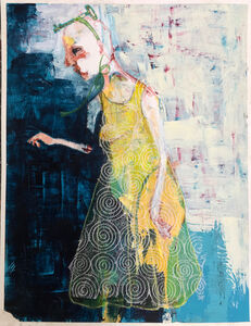 Ashley Benton, 'Painting of woman with key of life hair band: 'It Was a Pretty Dress but to Her It Was a Prison'', 2017