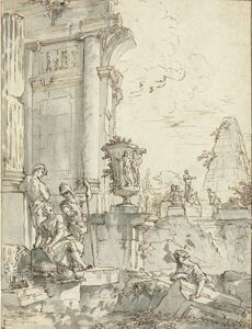 Giovanni Paolo Panini, 'Antique ruins with a soldier and other figures'