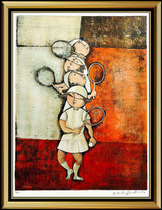 Graciela Rodo Boulanger, 'Graciela Rodo Boulanger Tennis Lithograph Original Signed Female Children Art', 20th Century