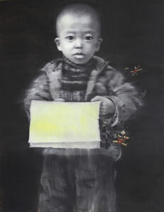 Li Tianbing, 'Yellow Self-portrait with Newspaper', 2012