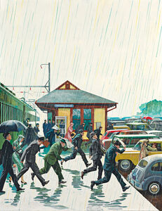 John Philip Falter, 'Commuters in the Rain, Post Cover', 1961