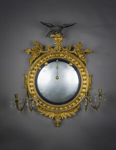 Unknown American, 'Neo-Classical Convex Girandole Mirror with Candle Arms', ca. 1810