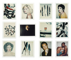 Andy Warhol, 'i. Shoes; ii. Debbie Harry; iii. Knives; iv. Liza Minelli; v. Crosses; vi. Self-Portrait with Fright Wig; vii. Campbell's Wonton Soup; viii. Shoes; ix. Self-Portrait in Drag; x. Knives; xi. Halston; xii. Keith Haring and Juan Dubose [Twelve Works]', 1977-1986