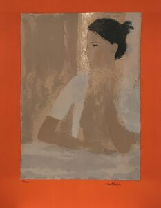 Bernard Cathelin, 'Nu au casaquin blanc (orange margin)', 1973