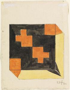 Vlastislav Hofman, 'Design for a Box in Orange, Black, and Yellow  (recto); Design for Box  in Orange, Green, and Yellow (verso)', 1911