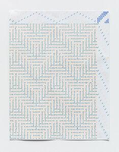 Heather Cook, 'Green + Fluorescent Orange Shadow Weave Draft', 2020