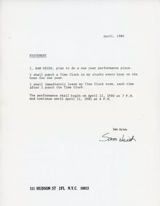 Tehching Hsieh, 'Sam Hsieh, One Year Performance: Time Clock, Project Statement', 1980