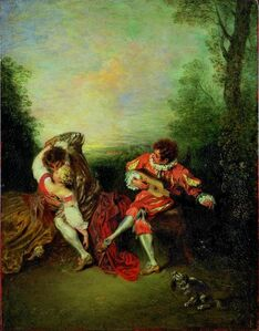 Jean-Antoine Watteau, 'La Surprise: A Couple Embracing While a Figure Dressed as mezzetin Tunes a Guitar', 1718-1719