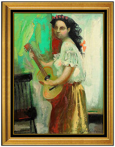 Byron Browne, 'Byron Browne Original Oil Painting on Board Signed Female Portrait Antique Art', 1960
