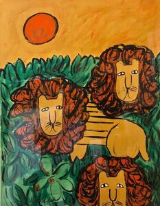 """Lionel Kalish, 'Original Oil Painting """"LIONS"""" in a Modernist Illustration Graphic Style', 1960-1969"""